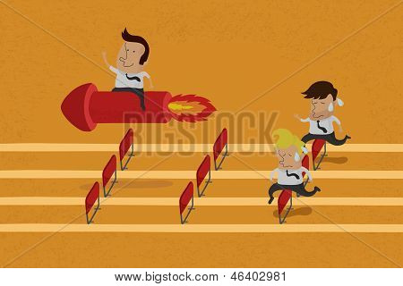 Business persons reaching the goal in a race vector format