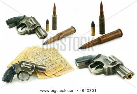 Set Of Guns, Bullets And Packs Of Card Isolated
