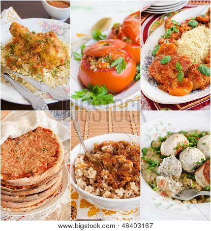 Collage of Middle Eastern food
