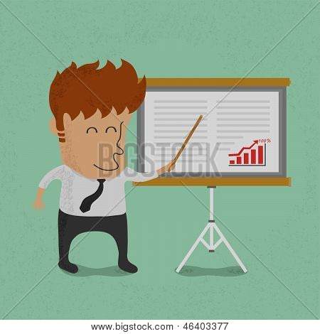 Business man making presentation in front of a board