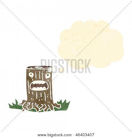 retro cartoon tree stump