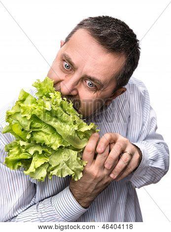 Man Holding Lettuce Isolated On White