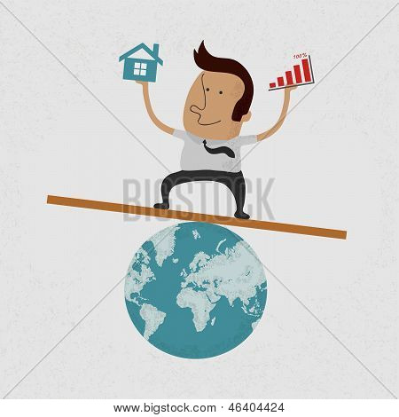 Business man handing Graph over and home on earth , eps10 vector format