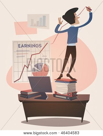 Business earnings graphic grown up. Retro style vector illustration