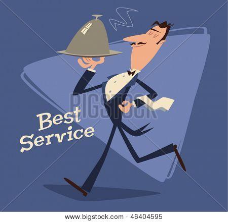 Waiter serving. Retro style vector illustration