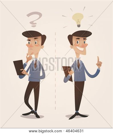 Businessman character. Retro style vector illustration.