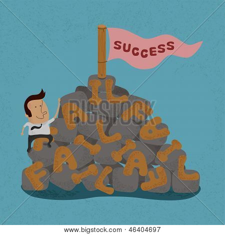 Businessman moving over the Failure go to success , symbolizing the overcoming of an obstacle and ac