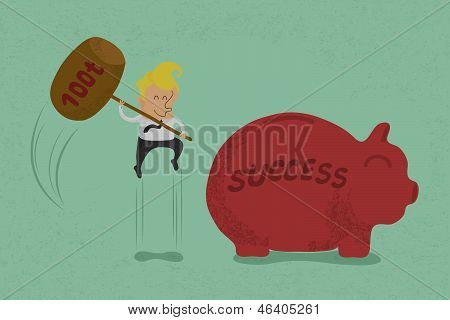 Businessman with hammer about to smash piggy bank to success