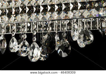 Contemporary glass chandelier closeup