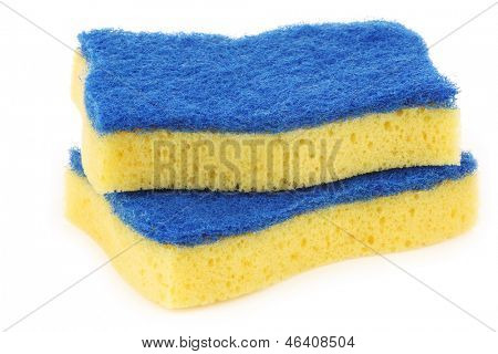 yellow and blue  abrasive pads on a white background