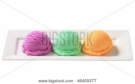 Three scoops of ice cream on long plate