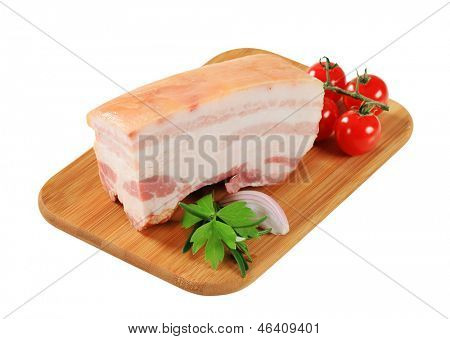 Slab of pork belly with rind