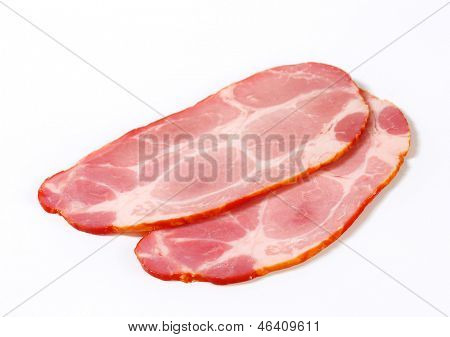 two thin slices of smoked pork ham