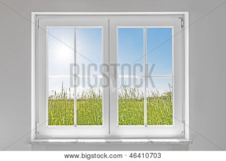 White Closed Window With Sun