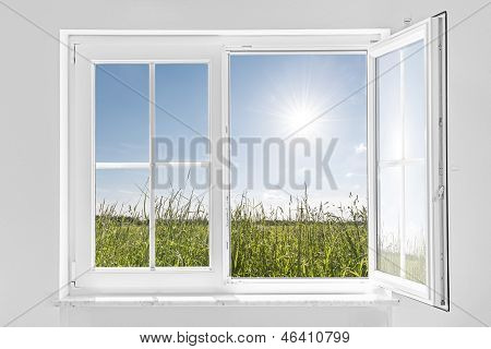 White Half Open Window With Sun