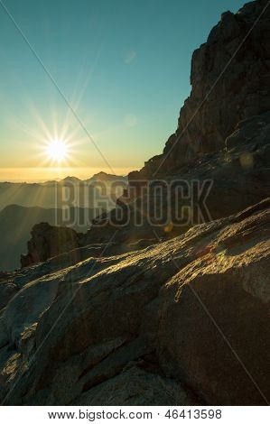 The majestic landscape - view from Mount Sinai at dawn. Egypt.