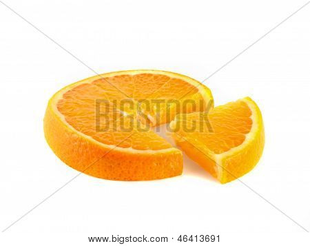 Pie Chart Of Sliced Orange. Business Concept.