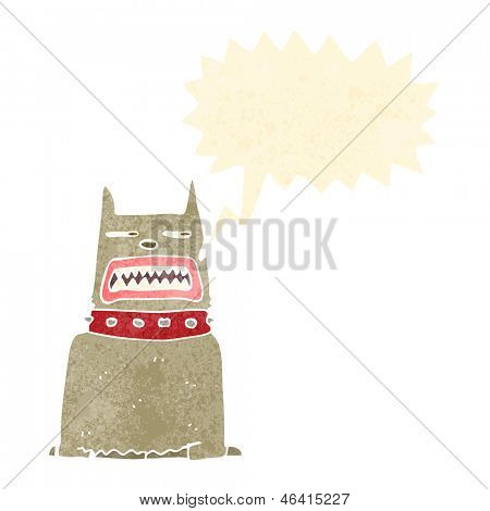 retro cartoon growling guard dog