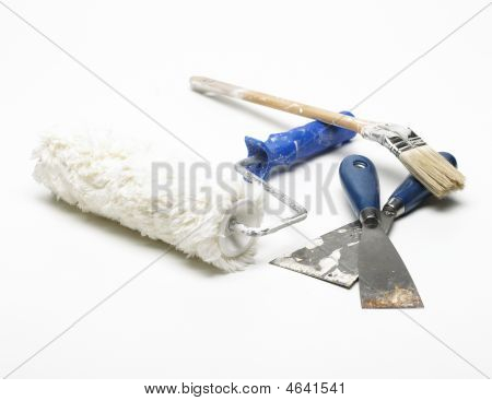 Paint Roller, Spatulas And Paintbrush