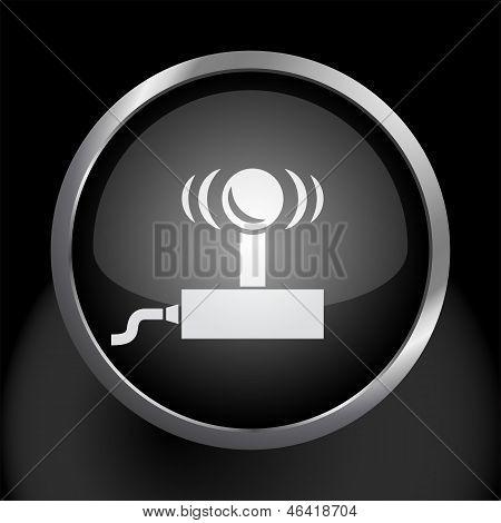 Video Game Joystick Icon on Black Glass Circle