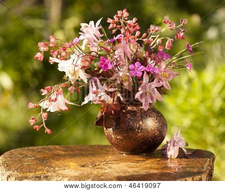 bouquet of spring flowers, aquilegia