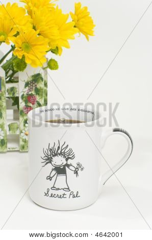 Secret Pal Coffee Cup With Flowers
