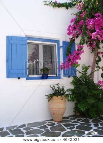 Greek House With Bouganvillea
