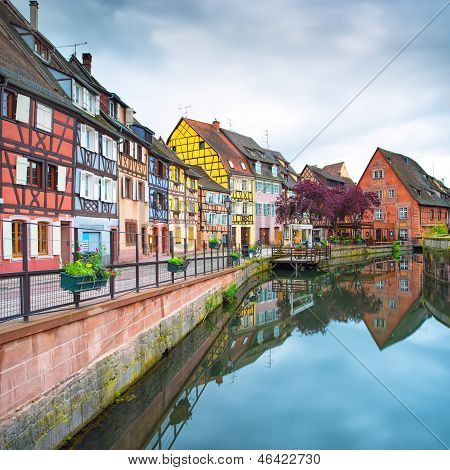 Colmar, Petit Venice, Water Canal And Traditional Houses. Alsace, France.