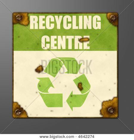Sinal de enferrujado e decadente para um centro de reciclagem