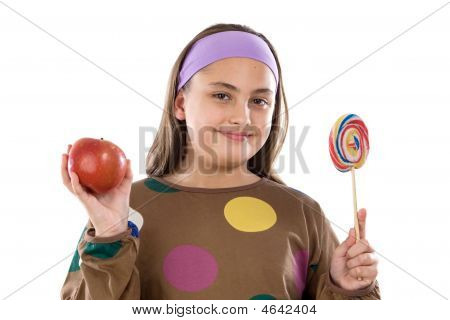 Girl With Lollipop And Apple