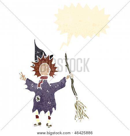retro cartoon witch with broom
