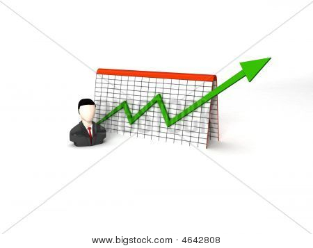 Businessman With Progress Graph