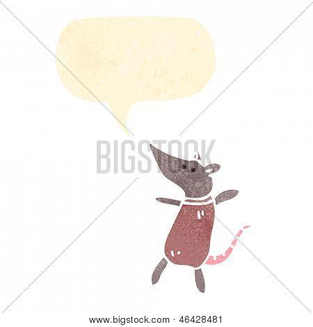 ratón de dibujos animados retro con el bocadillo de diálogo