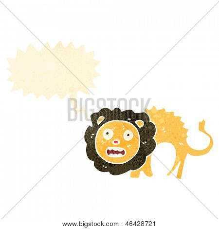 cartoon cowardly lion with speech bubble