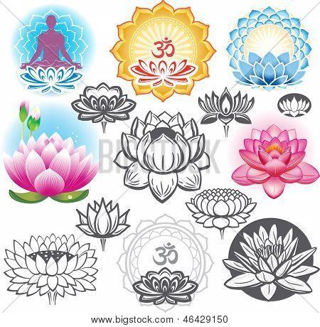 Conjunto de lotos y símbolos esotéricos