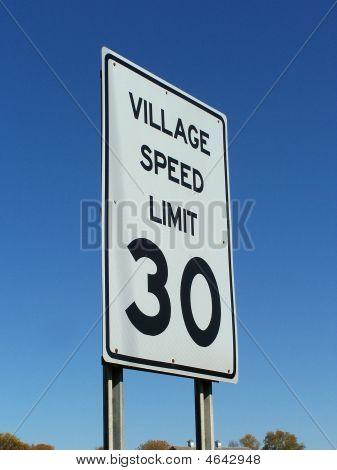 Village Speed Limit Sign