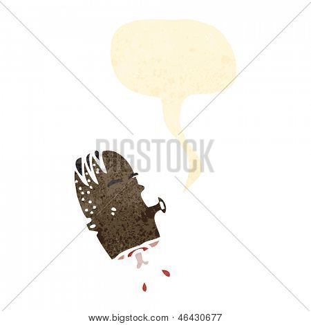 retro cartoon gross severed head with speech bubble