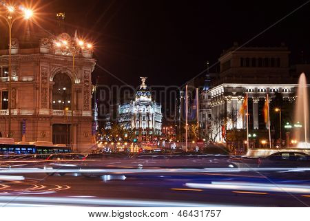 Street in the center of Madrid at night. Spain, Europe.