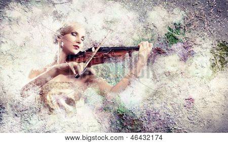 Image of gorgeous woman playing violin against colorful background
