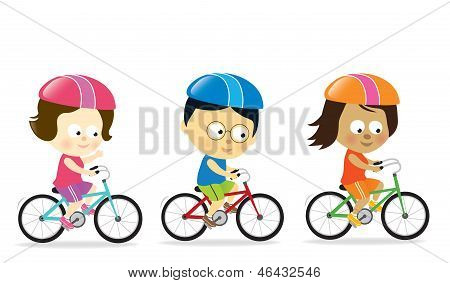 Adults biking