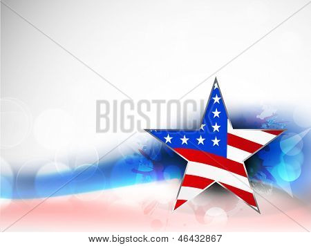 4th of July, American Independence Day background with star in national flag colors on grungy wave background.