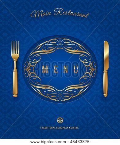 Menu with golden cutlery and ornate elements - vector illustration