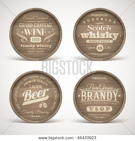Set of wooden casks with alcohol drinks emblems - vector illustration