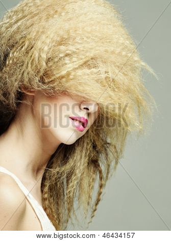 young woman with creative hairstyle