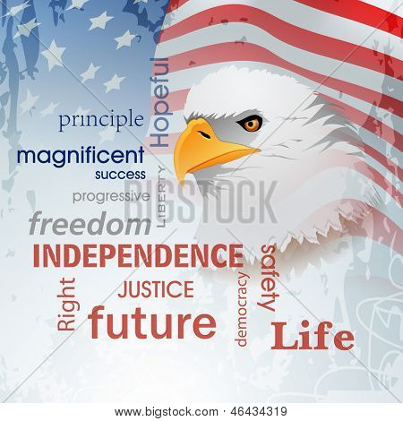 4th of July, American Independence Day background with national bird eagle on waving flag background.