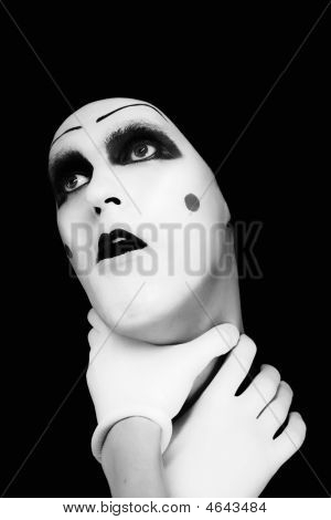 Mime With Hands On A Neck
