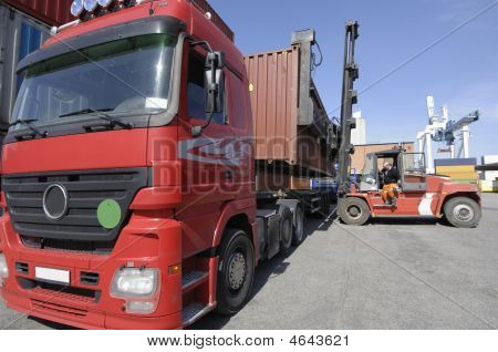 Forlift Truck Inside Busy Port