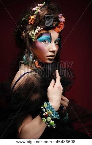 close up portrait young woman with bright creative make up