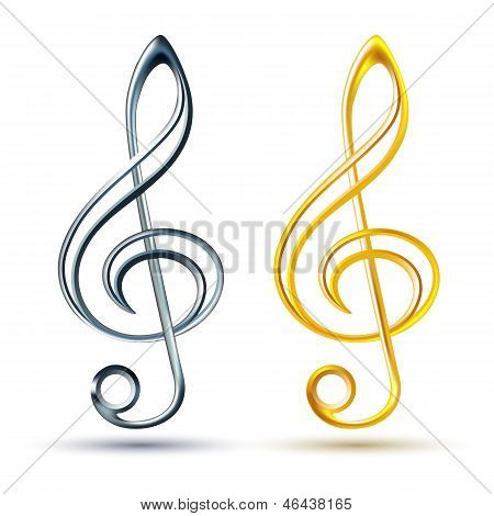 Gold and silver treble clef on white background