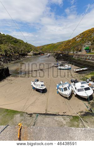 Boats in Porthclais harbour near St Davids Pembrokeshire West Wales